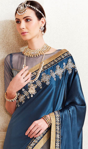 Designer Saree:atisundar delightful Designer Embroidered Saree in Blue  - 10368 - atisundar - 2