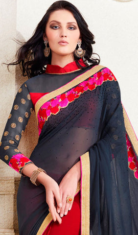 Designer Saree:atisundar ravishing Designer Embroidered Saree in Grey  - 10371 - atisundar - 2