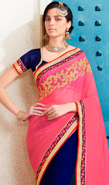 Designer Saree:atisundar comely Designer Embroidered Saree in Pink  - 10373 - atisundar - 2 - click to zoom