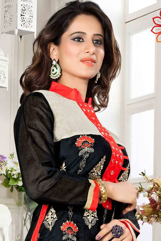 Designer Straight Cut:atisundar charming Black And Red Designer Party Wear Straight Cut - 13293