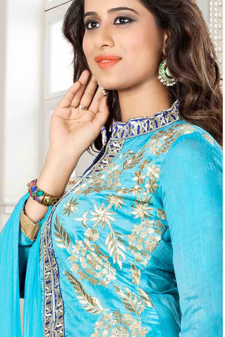 Designer Straight Cut:atisundar fascinating Blue Designer Party Wear Straight Cut - 13294