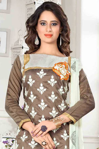 Designer Straight Cut:atisundar refined Brown Designer Party Wear Straight Cut - 13295