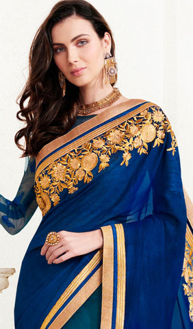 Designer Saree:atisundar Beautiful Designer Embroidered Saree in Blue  - 10375 - atisundar - 2