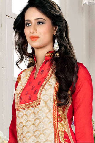 Designer Straight Cut:atisundar gorgeous Red And Cream Designer Party Wear Straight Cut - 13297
