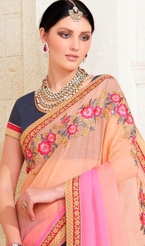 Designer Saree:atisundar refined Designer Embroidered Saree in Peach  - 10376 - atisundar - 2
