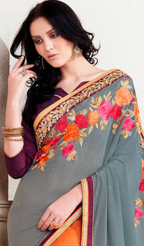 Designer Saree:atisundar delicate Designer Embroidered Saree in Grey  - 10377 - atisundar - 2
