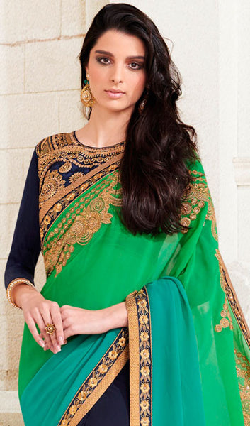 Designer Saree:atisundar gorgeous Designer Embroidered Saree in Green  - 10379 - atisundar - 2 - click to zoom