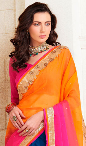 Designer Saree:atisundar splendid Designer Embroidered Saree in Orange  - 10380 - atisundar - 2