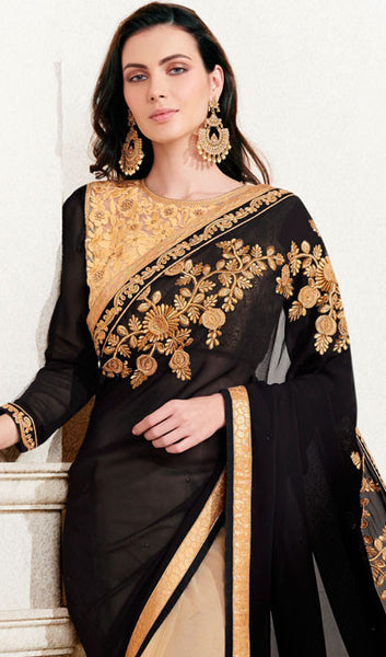 Designer Saree:atisundar splendid Designer Embroidered Saree in Black  - 10381 - click to zoom