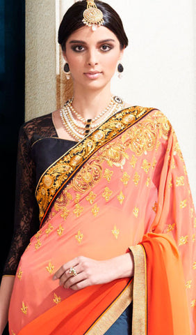 Designer Saree:atisundar pretty Designer Embroidered Saree in Orange  - 10384 - atisundar - 2 - click to zoom