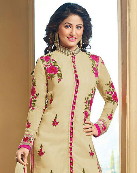 The Heena Khan Collection:atisundar fascinating Beige Designer Embroidered Partywear Suits in Straight Cut - 9706 - atisundar - 2 - click to zoom