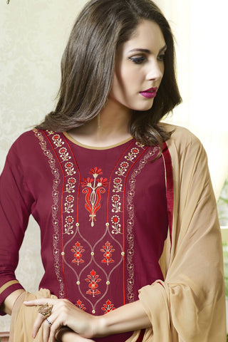Designer Straight Cut:atisundar enticing Maroon Designer Party Wear Straight Cut - 13389