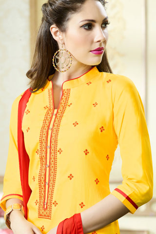 Designer Straight Cut:atisundar fascinating Yellow Designer Party Wear Straight Cut - 13391