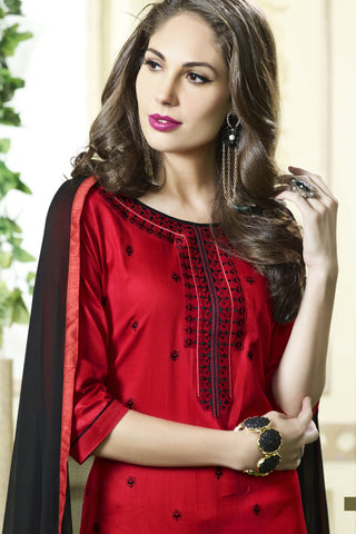 Designer Straight Cut:atisundar Superb Red Designer Party Wear Straight Cut - 13397
