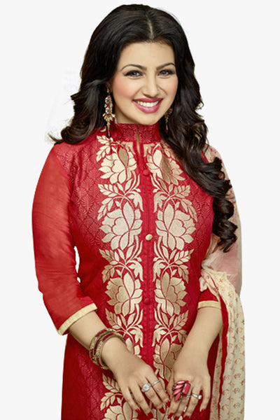 The Ayesha Takia Collection:atisundar Alluring Maroon Designer Party Wear Embroidered Straight Cut Featuring Ayesha Takia - 12176 - atisundar - 2 - click to zoom