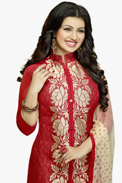 The Ayesha Takia Collection:atisundar Alluring Maroon Designer Party Wear Embroidered Straight Cut Featuring Ayesha Takia - 12176 - atisundar - 3 - click to zoom