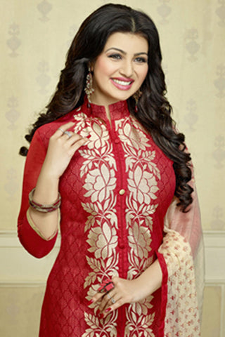 The Ayesha Takia Collection:atisundar Alluring Maroon Designer Party Wear Embroidered Straight Cut Featuring Ayesha Takia - 12176 - atisundar - 6