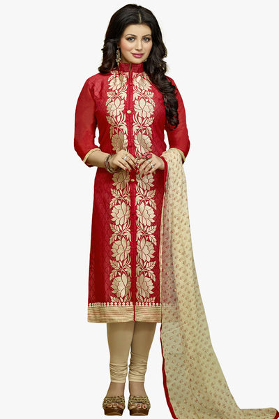 The Ayesha Takia Collection:atisundar Alluring Maroon Designer Party Wear Embroidered Straight Cut Featuring Ayesha Takia - 12176 - atisundar - 1 - click to zoom