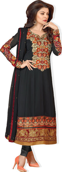 The Sushmita Sen Collection:atisundar Manushri: Comely Semi stitched Salwar Kameez In Black - 4443 - atisundar - 1 - click to zoom