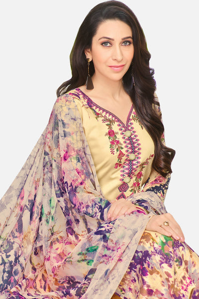 Exclusive embroidered Glaze Cotton With Printed Dupatta:atisundar bewitching Yellow Designer Party Wear Straight Cut Featuring Karishma Kapoor - 15176 - click to zoom
