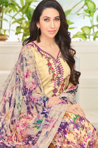 Exclusive embroidered Glaze Cotton With Printed Dupatta:atisundar bewitching Yellow Designer Party Wear Straight Cut Featuring Karishma Kapoor - 15176