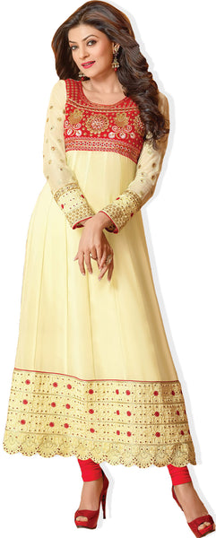 The Sushmita Sen Collection:Charming Designer Bollywood Anarkali Cream Semi stitched Salwar Kameez By atisundar - 4448 - atisundar - 2 - click to zoom