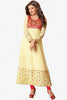The Sushmita Sen Collection:Charming Designer Bollywood Anarkali Cream Semi stitched Salwar Kameez By atisundar - 4448 - click to zoom