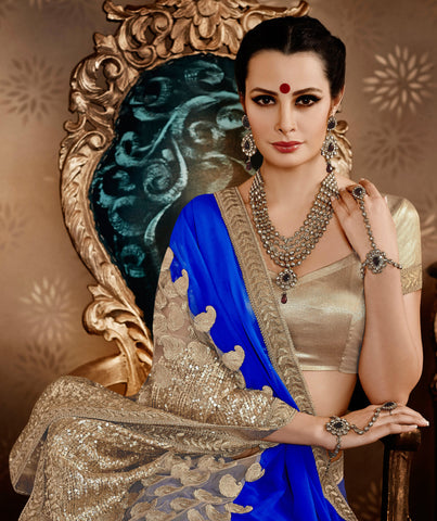 Designer Partywear Saree:atisundar excellent Designer Embroidered Party Wear Sarees in Blue  - 8784 - atisundar - 3