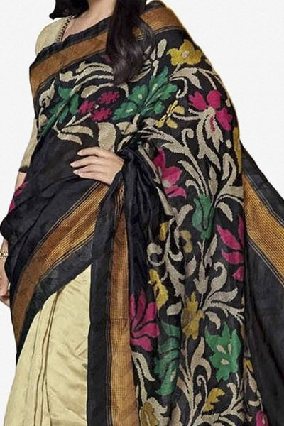Designer Bhagalpuri Saree:atisundar lovely Designer Printed Saree in Faux Bhagalpuri Silk in Cream And Black  - 11108 - atisundar - 2 - click to zoom