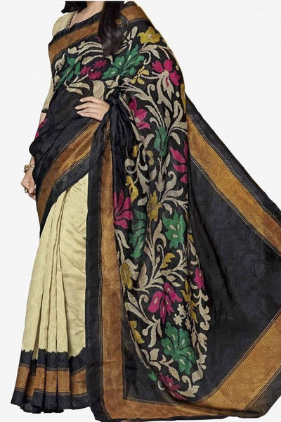 Designer Bhagalpuri Saree:atisundar lovely Designer Printed Saree in Faux Bhagalpuri Silk in Cream And Black  - 11108 - atisundar - 1 - click to zoom