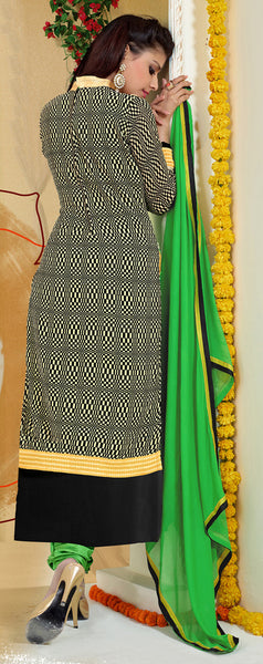 Designer Karachi Work Embroidered and Printed Straight Cut:atisundar radiant Green Straight Cut with Embroidery and Digital Print - 6443 - atisundar - 4 - click to zoom