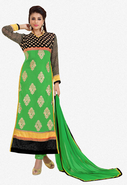 Designer Karachi Work Embroidered and Printed Straight Cut:atisundar radiant Green Straight Cut with Embroidery and Digital Print - 6443 - atisundar - 2 - click to zoom
