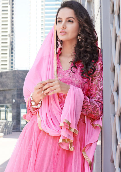 Designer Anarkali!:atisundar graceful Pink Anarkali - 8038 - atisundar - 3 - click to zoom