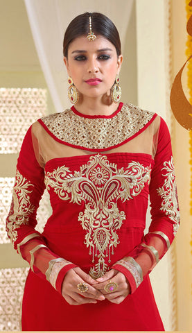 Designer Karachi Work Embroidered and Printed Straight Cut:atisundar angelic Red Straight Cut with Embroidery and Digital Print - 6445 - atisundar - 4