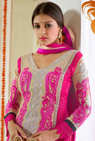 Designer Karachi Work Embroidered and Printed Straight Cut:atisundar angelic Beige And Pink Straight Cut with Embroidery and Digital Print - 6449 - atisundar - 4 - click to zoom