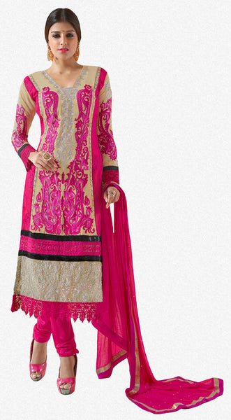Designer Karachi Work Embroidered and Printed Straight Cut:atisundar angelic Beige And Pink Straight Cut with Embroidery and Digital Print - 6449 - click to zoom