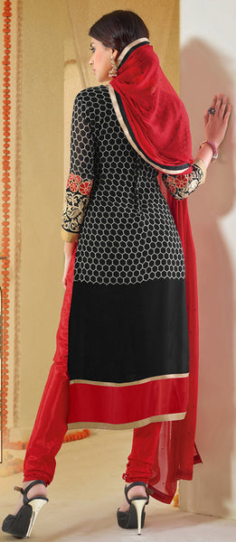 Designer Karachi Work Embroidered and Printed Straight Cut:atisundar admirable Black Straight Cut with Embroidery and Digital Print - 6450 - atisundar - 4 - click to zoom