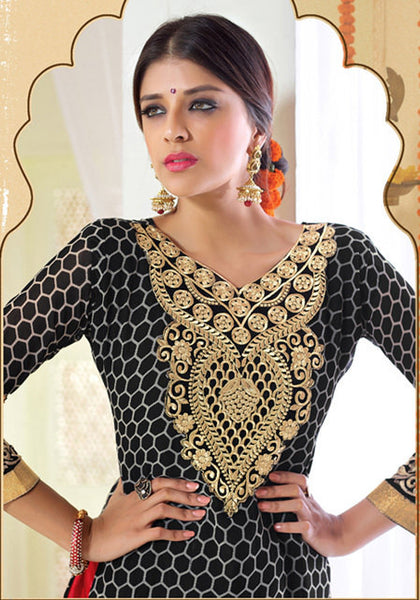 Designer Karachi Work Embroidered and Printed Straight Cut:atisundar admirable Black Straight Cut with Embroidery and Digital Print - 6450 - atisundar - 5 - click to zoom