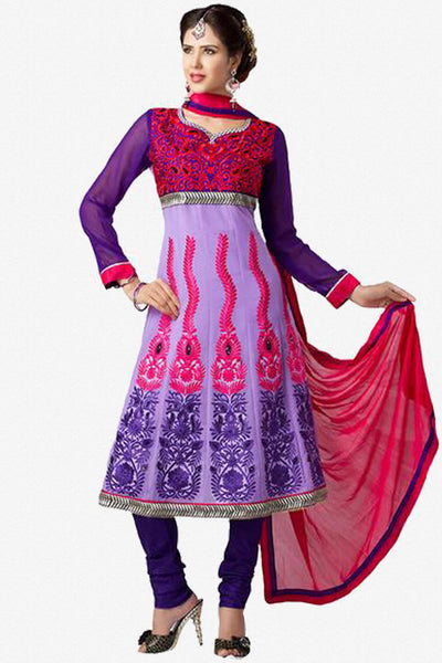 Beautiful Embroidery Purple Unstitched Salwar Kameez By atisundar - 2894 - click to zoom