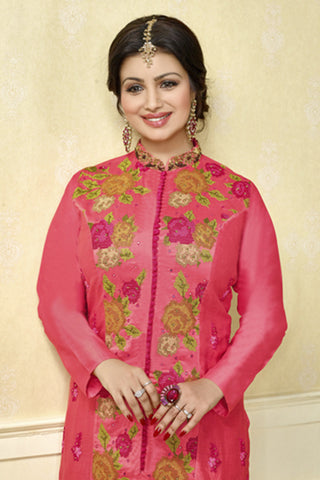 The Ayesha Takia Collection:atisundar cute Pink Designer Party Wear Embroidered Straight Cut Featuring Ayesha Takia - 12179 - atisundar - 6