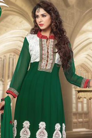 atisundar Vibha: Appealing Unstitched Salwar Kameez In Green - 3307 - atisundar - 4 - click to zoom