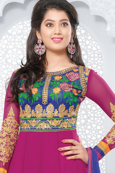 Designer Straight Cut:atisundar Beautiful Pink Designer Embroidered Straight Cut - 10661 - click to zoom