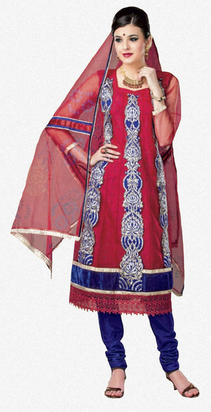 atisundar Poornima: Marvelous Unstitched Salwar Kameez In Red - 2909 - atisundar - 2 - click to zoom