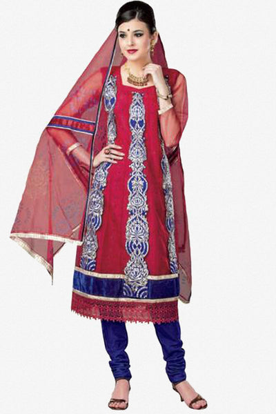 atisundar Poornima: Marvelous Unstitched Salwar Kameez In Red - 2909 - click to zoom