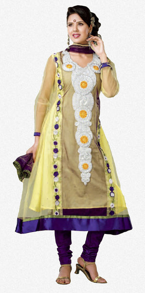 Smart Embroidery: Yellow Unstitched Salwar Kameez By atisundar - 2916 - click to zoom