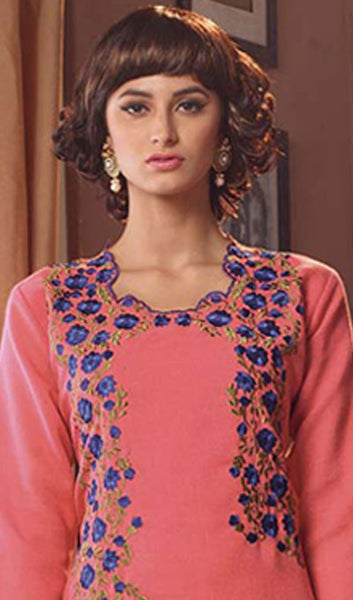 Designer Tops:atisundar graceful Poly Linen Designer Tops in Dusty Pink - 9170 - atisundar - 3 - click to zoom