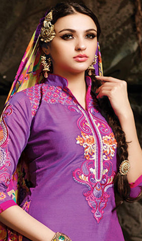 Embroidered Chanderi Cotton Suits:atisundar beauteous Purple Embroidered Straight Cut in Chanderi - 6621 - atisundar - 6