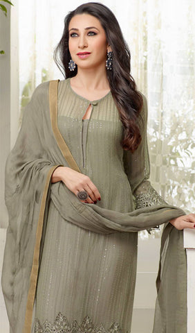 The karishma Kapoor Collection!:atisundar gorgeous Designer Straight Cut Greyish Green  - 7869 - atisundar - 3