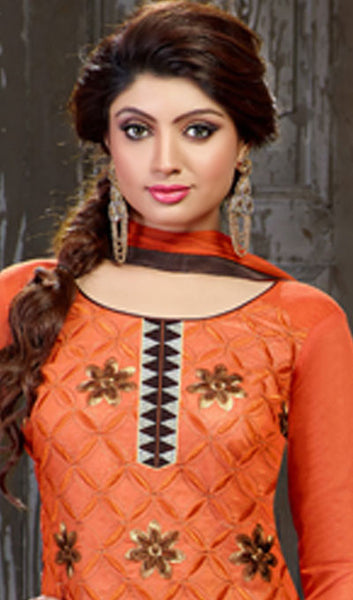 Embroidered Straight Cut Suit:atisundar delightful Orange Designer Straight Cut Embroidered Suits - 7803 - atisundar - 3 - click to zoom