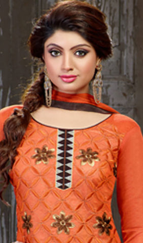 Embroidered Straight Cut Suit:atisundar delightful Orange Designer Straight Cut Embroidered Suits - 7803 - atisundar - 3